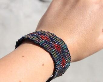 Multi-color beadwoven Cuff Bracelet
