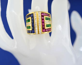 18k Gold, Ruby, Sapphire, Emerald And Diamond Ring. Size 6.5