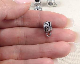 6 Silver Bails | Rope Design Bails | Antique Silver Bails | Jewelry Bails | Spacer Beads  | Bracelet Bails | Wholesale Bails | 11x9mm SB286
