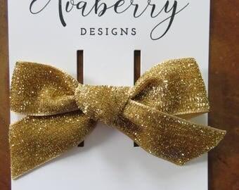 Glitter Gold Velvet Bow Clip or Headband