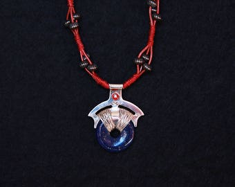 Silver and Lapis Pendant Necklace