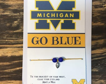 Michigan Wolverines wish bracelet.Michigan wolverines charm bracelet.Go blue.University of Michigan football bracelet.Wolverines card
