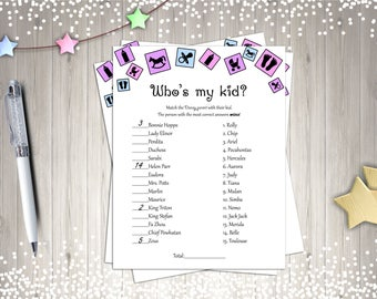 Baby Shower Games, Who's My Kid?, Printable Baby Showers, Digital Baby Shower Games