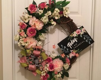 Thankful Today wreath, spring wreath, Peonies and roses wreath spring grapevine wreath