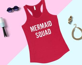 Mermaid Shirt, Mermaid Squad Racerback Shirt, Mermaid Tank, Mermaid kids tank, Childrens Racerback tee, Summer tank top, Beach tank top
