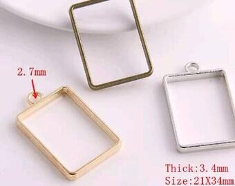 10 Hollow bezel glue blank open pendant charms
