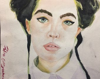 Watercolor portrait of young girl A4