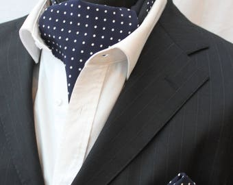 Cravat Ascot 100% Silk Front. UK Made Navy Blue Sml Polka Dot + match hanky.