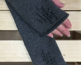 Cashmere fingerless Gloves, Fingerless gloves - Arm warmers - Womens Fingerless - Long Fingerless Mittens - Wrist warmers - Hand warmers