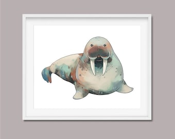 Walrus Wall Art Print - Sea Animals - Nursery Decor - Animal Print, Wall Decor, Walrus Nursery Arctic Animals 8x10 / 11x14 / 13x19