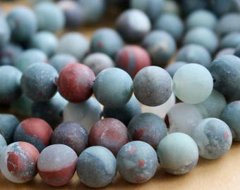8mm Frosted African Jasper beads, full strand, natural stone beads, natural silver leaf, round, 80140