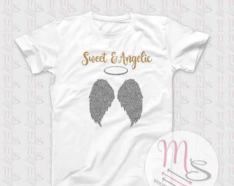 Sweet & Angelic T Shirt,  Glitter, Angelic, Girl, Female, Woman, Sweet, Girls, Angel,  TShirt, Top