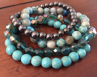 Aqua, Teal, and Dark Grey 4-pc Stone and Glass Bracelet Set