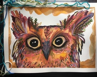 What A Fancy Nature Owl Named Fernando, 11x15, Original Art, painting, watercolor, pinks, reds, orange