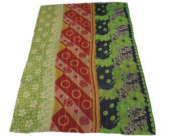 Vintage Reversible Cotton Sari Kantha Quilt,Twin Old Cotton Kantha Bedspread, Kantha Gudri Cotton Blanket 23
