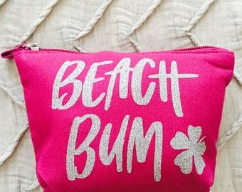 Beach Bum Makeup Bag- Travel Bag, Travel Case, Cosmetic Bag