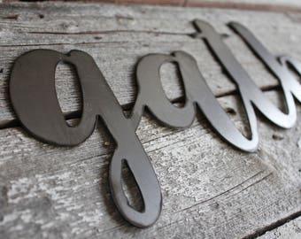 Gather Metal Sign, metal words, family, friends, steel words