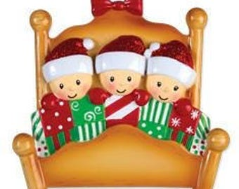 Bed Family of 3 Personalized Christmas Ornament