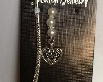Silver bookmark with Tibetan silver heart charm