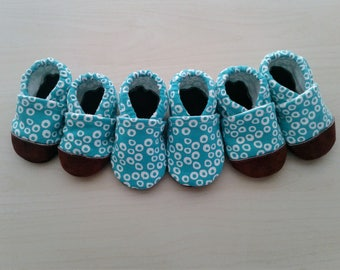 Turquoise Googly-Eyed Baby Moccasins