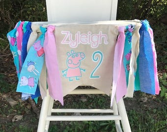 Peppa Pig Birthday Banner. Peppa Pig Highchair Banner. Peppa Pig Party