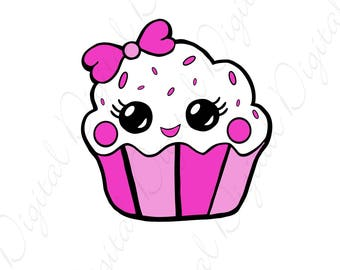 Cute Cupcake Pink SVG and Studio 3 Cut File Cutouts Files Design Logo for Silhouette & Cricut SVGS Decals Cutouts Digital Cup Cake Party