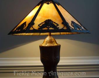 H.E. Rainaud Pierced Metal Over Slag Glass Antique Art Nouveau Table Lamp