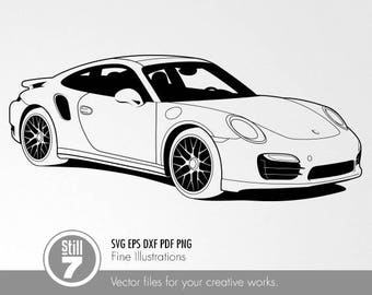 Porsche 911 Turbo S Type 991 svg eps dxf pdf png