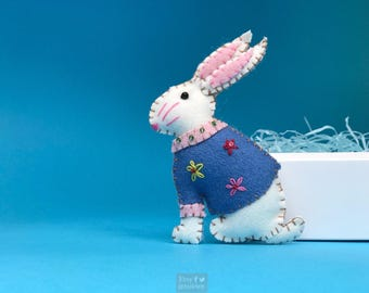 "4"" hand stitched rabbit blue bunny hanging / felted felt bunny decoration / felt hanging ornament chic felt / easter primitive decor"