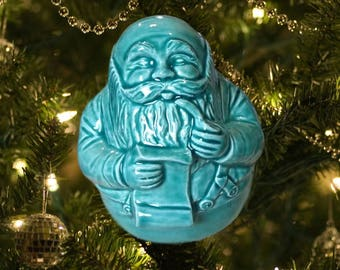 Jade Colored Glazed Ceramic Santa Christmas Ornament