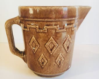 Vintage Western Stoneware Co. Monmouth - brown stoneware pitcher - 1930's batter pitcher - farmhouse kitchen - diamond pattern