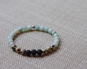 Amazonite / Dalmatian Jasper / Lava Diffuser bracelet