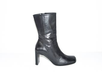 Vintage Black Leather DOLCIS Mid Calf Zip High Heel Women's Boots Size 7/40
