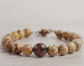 Picture jasper bracelet Brown Stone Bracelet Tibetan dzi bead Calming Bracelet Meditation stone Talisman Mother's Day Father's Day gifts