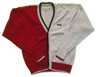 Vintage 90s Fila White Heritage Cardigan
