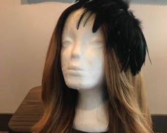Black Feather Fascinator headband hat