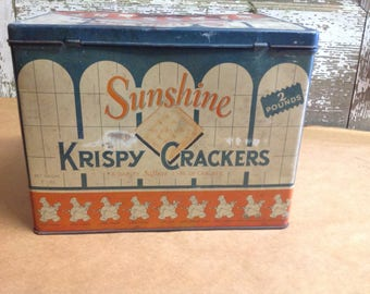 Vintage Sunshine Krispy Crackers Tin Collectible