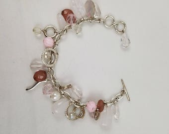 "Nice Silvertone Charms Bracelet 8"" with Toggle clasp"