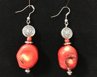 Fire agate and silver earrings