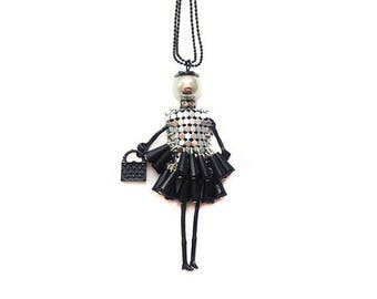 Doll pendant necklace - black and silver