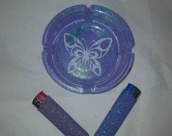 Ashtrays, glittered ashtray, butterfly, bar accessories, butterfly ashtrays, glass ashtrays, butterflies, birthday gifts, mothers day gifts