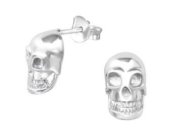 925 Sterling Silver Skull Earrings
