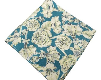 Teal Liberty of London Floral Pocket Square.