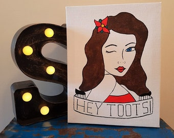 Pin Up Painting - Pop Art Painting - Original Painting - Gift for Her - Quirky Gift - Tattoo Art - Rockabilly Art - Retro - Gift for Him