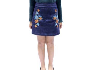 Colin Denim Embroidery Skirt