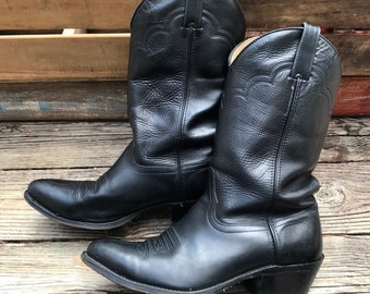 HERITAGE WEST Vintage Black Leather Cowboy Boots Men's 10.5EE