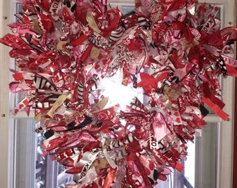 Valentine's Ribbon Rag Wreath with LED Lights