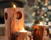 Wooden Owl Family | Reclaimed Wood Rustic Candle Holders
