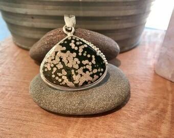 Ocean Jasper Pendant // Ocean Jasper Necklace // crystal healing necklace // Jasper Pendant // jasper necklace // sterling silver