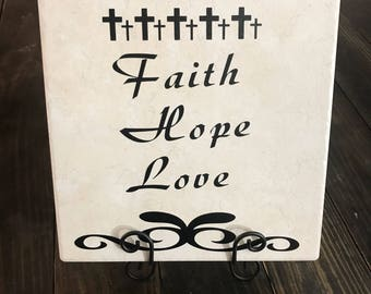 Ceramic Tile, Decorative Tile, Inspirational Decor, Faith Hope Love